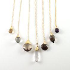 Gemstone Necklace, Gold Necklace, Simple Minimal Necklace, Layer Necklace, Landon Lacey, Teardrop Gemstone, Charm Necklace, Pendant