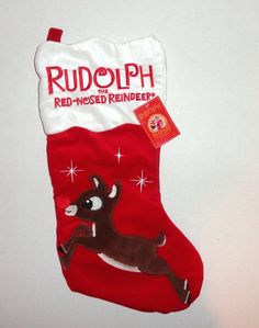 New Rudolph the Red Nosed Reindeer Christmas Stocking 50th Anniversary Edition. #christmas