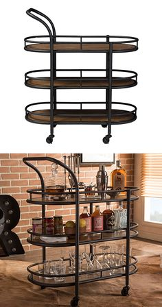 Three cheers for this handsome three-tiered design. With its beautifully distressed wood surfaces, framed with antiqued black metal bars, this Jonsey Bar Cart has a stunning industrial feel. Fill its s...  Find the Jonsey Bar Cart, as seen in the The Industrial Printing Press Collection at http://dotandbo.com/collections/the-industrial-printing-press?utm_source=pinterest&utm_medium=organic&db_sku=126956
