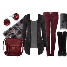 Awesome Outfit , Black and white cardigan, black top, maroon skinny pants, black heels ~ Fashion & Design Casual Work Outfits, Work Casual, Jean Outfits, Cool Outfits, Burgundy Pants Outfit, Burgundy Skinny Jeans, Blue Jeans, Outfit Pantalon Vino, Looks Camisa Jeans