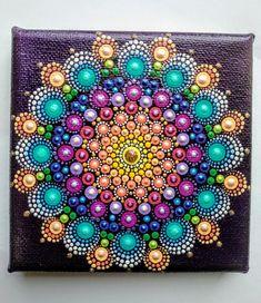 Blooming dahlia dot Mandala on canvas board 8 x 8 Dot Art Painting, Mandala Painting, Tole Painting, Mandala Painted Rocks, Mandala Rocks, Altered Canvas, Mandala Canvas, Bright Art, Art Drawings For Kids