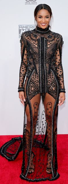 (via Ciara from 2015 American Music Awards: Red Carpet Arrivals) The good nightmare dress? Congrats Ciara you broke me! American Music Awards 2015, Ciara Style, Outfits Inspiration, Red Carpet Looks, Red Carpet Dresses, Sheer Dress, Sequin Dress, Dress Long, Celebs