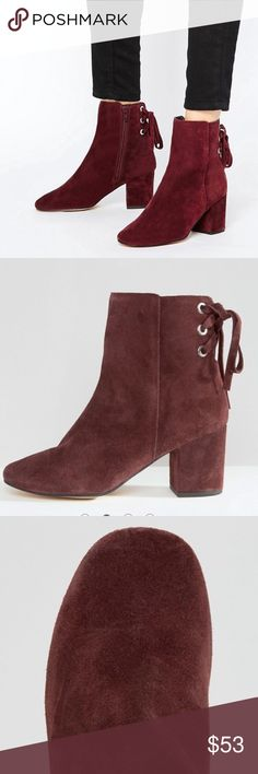 "Asos Reni Burgundy Ankle Boots FASHION GOALS! Luscious burgundy suede, block kitten heel and sexy lace-up detail. BRAND SPANKING NEW!! 3""  heel, rounded toe, silver rivets, side zip for easy on/off! ASOS Shoes Ankle Boots & Booties"