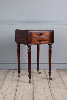 Drop leaf top, over a hinged compartment with dummy drawers facia. Fitted with wooden knobs and raised on turned legs capped with brass castors. 1825 width with leaves up is Furniture, Bedside, Table, Wooden, Sewing Table, Bedside Table, Bedroom Furniture, Work Table, Home Decor