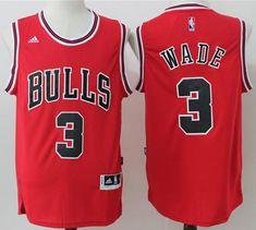 Bulls  3 Dwyane Wade Red Stitched NBA Jersey Throwback Nba Jerseys 04b82c632