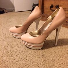 Nude beige and white pumps Shoedazzle.  Worn only a few times. Shoe Dazzle Shoes Heels