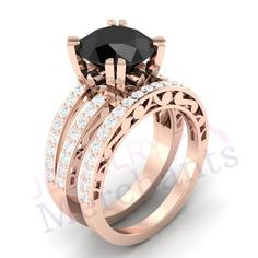 Engagement Ring Set Ct Lab Made Black Moissanite Round Promise Ring Set Solid 925 Sterling Silv Skull Engagement Ring, Engagement Ring Settings, Gothic Wedding Rings, Affordable Rings, Promise Rings, Moissanite, Rose Gold Plates, Sterling Silver Rings, Indian Jewelry