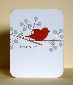handmade card ... clean and simple ... one layer ... red bird punched from polka dot papers ... branches with dots ... luv it!