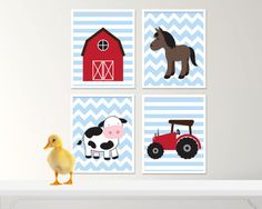 Items similar to Farm Animal Nursery Art. Cow, Horse and Tractor Nursery Art Prints. Set of four - on Etsy Tractor Nursery, Horse Nursery, Farm Animal Nursery, Nursery Art, Nursery Accessories, Baby Boy Nurseries, Large Prints, Farm Animals, Cow
