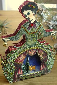 Christmas Garden Ornament, side view, using Character Constructions, artist Heather Maxwell