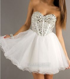 White Corset Homecoming Dress Lace Up Back Prom by WeddingBless, $98.00