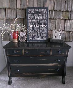 Black distressed Empire Dresser with a future antique black distressed mirror