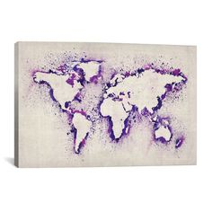 A simple DIY World Map Wall art that is perfect for a clean yet