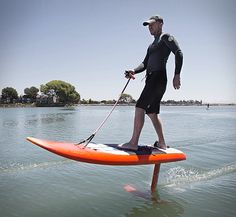 Jetfoiler is the latest water toy, it combines two popular surfboard enhancements into one rig, an electric motor and a hydrofoil. The Jetfoiler, basically, installs the electric motor on the hydrofoil instead of the deck, and with a remote control i
