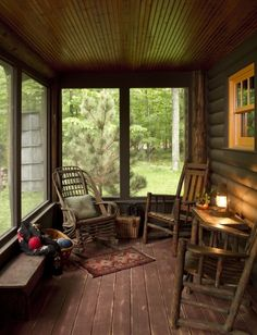 Cozily rustic glassed-in porch of an older log cabin   (via BeDe Design, LLC - eclectic - porch - minneapolis - by Michelle Fries, BeDe Design, LLC)