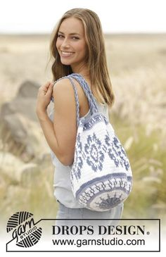 Carried Away bag with coloured pattern by DROPS Design Free Crochet Pattern