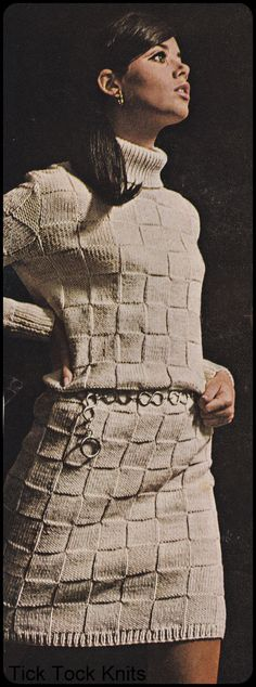 Long sleeve short turtleneck dress with basket weave pattern! - LOVE>LOVE>LOVE! I even love the little chain belt!