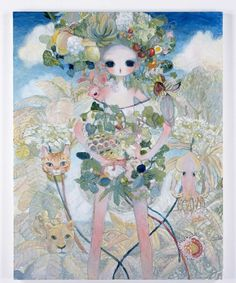 "AYA TAKANO ""Edible Plant Garments, Guardian Deities"" 2014  Oil on canvas / Huile sur toile  45 3/4 x 35 3/4 inches / 116 x 91 cm Unique"