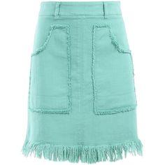 Love Moschino Mini Skirt ($94) ❤ liked on Polyvore featuring skirts, mini skirts, moschino, mint, suknje, light green, short mini skirts, short skirt, zip skirt and light green skirt