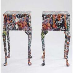 anna james' romeo and julliet graffiti end tables