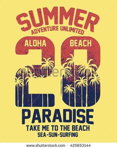 Aloha Typography With Palms Tree Illustration For T-Shirt Print , Vector…