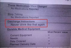 Ummm, best discharge instructions ever? #Truthbomb  Shared from thankyounurses using Embeddlr.