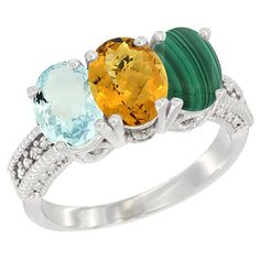 14K White Gold Natural Aquamarine, Whisky Quartz and Malachite Ring 3-Stone Oval 7x5 mm, sizes 5 - 10 -- Remarkable product available now. : Ring Bands