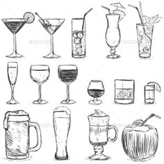 Vector Set of Sketch Cocktails and Alcohol Drinks