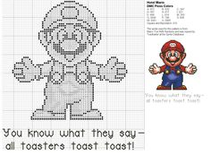 Mario Cross Stitch Pattern - for Todd Cross Stitch Bookmarks, Cross Stitch Charts, Cross Stitch Patterns, Melty Bead Patterns, Beading Patterns, Super Mario, Cross Stitching, Cross Stitch Embroidery, Stitch Games