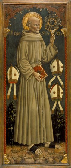 Dario di Giovanni - Saint Bernardino of Siena. 1470 Prayer Cards, My Prayer, Siena, Maria Goretti, Les Religions, Tempera, Christian Art, 15th Century, Art Museum