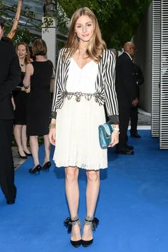 Olivia Palermo Never, Ever Gets an Outfit Wrong: With a striped jacket, jeweled belt, and delicate ankle-strap heels, Olivia set her LWD apart from the rest of the cocktail party crowd at an event at the MoMA in May. Joe Schildhorn /BFAnyc.com