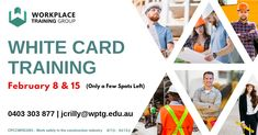 White Card Training Courses will take place on the 8th and 15th of February with Workplace Training Group.  This unit of competency specifies the mandatory work health and safety training required prior to undertaking construction work.  Course Cost - Only $135 per person! Corporate Discounts available! Contact James Crilly at 0403 303 877 or jcrilly@wptg.edu.au to enroll today! Be quick, there are only a few spots available!!!  White Card Cost- $34 or $28 if lodged online.