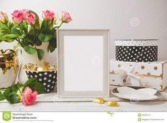 Picture Frame Poster Template Mock Up With Glamour And Elegant Feminine Objects Stock Photo - Image: 55645114