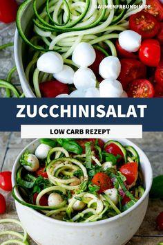 Mein Zucchinisalat Caprese ist vegetarisch, ganz einfach zu machen und richtig lecker #zucchininudeln Low Carp, International Food, Green Beans, Sauces, Clean Eating, Good Food, Salad, Vegetables, Eat Healthy