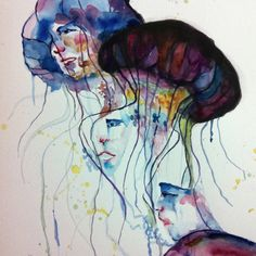 Jellyfish hat :watercolor painting  By jane kim
