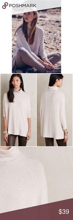"""Anthropologie Mika Turtleneck by Postmark Beautiful high neck tee by Postmark suitable for fall/winter. Runs TTS but for more fitted look size up❤️                                                                                           Rayon, polyester, spandex knit Pullover styling Machine wash Regular: 28""""L NWT Color Neutral Size XS Anthropologie Tops"""