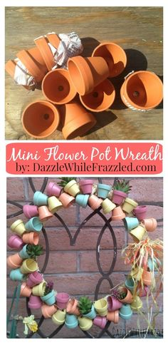 How to make a miniature terra cotta flower pot front door wreath. Perfect for spring and summer. Grab a wire wreath form and some mini terra cotta flower pots and decorate your front door today / via DazzleWhileFrazzled blog