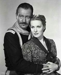 John Wayne et Maureen O'Hara : pour le film « Rio Grande » réalisé par John Ford, sorti en 1950.