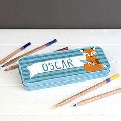 Children's Personalised Clever Fox Pencil Case