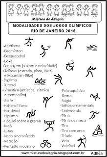 Mistura de Alegria: LISTA DAS MODALIDADES DOS JOGOS OLÍMPICOS DE 2016,...