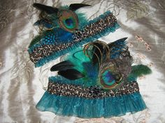 Teal Organza and Leopard Garter Set with Bird of Prey Peacock and Feather Display, Destination Bride, Peacock Wedding, Non Traditional-- minus the leopard