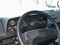I wish I could find more information about this custom Vanagon cluster but there doesn't seem to be any info available online. This owner created his own Vw Bus T3, T3 Camper, Volkswagen Type 3, Vw T1, Camper Van, Volkswagen Beetles, Volkswagen Golf, Campers, T3 Doka