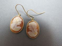 14k Yellow Gold Cameo Earrings French Wire Dangle Carved Marked M/B Gorgeous! SOLD!
