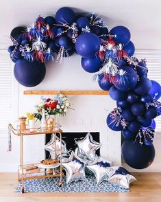 Are you ready for the of July? We love this patriotic balloon garland by Fourth Of July Crafts For Kids, Fourth Of July Decor, Happy Fourth Of July, 4th Of July Celebration, 4th Of July Decorations, 4th Of July Party, Balloon Decorations, July 4th, Holiday Decorations