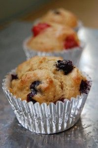 100 Days of Real Food Whole Wheat Muffins - add in any nuts and berries you like. These are quite good! I used apple juice and added mini chocolate chips for the kids and used orange juice and added chopped cranberries and pecans for the adults.
