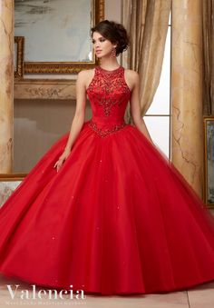 Jeweled Beaded Satin Bodice on Tulle Ball Gown Quinceanera Dress Designed by Madeline Gardner. Matching Bolero Jacket. Colors Available: Capri, Navy, Scarlet, White