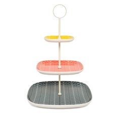 Add Orla Kiely's signature style to your home with this beautifully retro three tired cake stand.