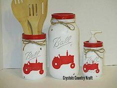 Mason Jar Art, Mason Jar Kitchen, Rustic Mason Jars, Ball Mason Jars, Pig Kitchen, Chicken Kitchen, Rustic Kitchen, Country Kitchen, Kitchen Decor