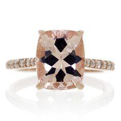 Morganite 10x8 oval cut 14k rose gold halo diamond engagement ring