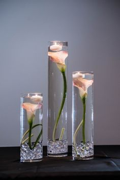 Submersible Pink Calla Lily Floral Wedding Centerpiece with